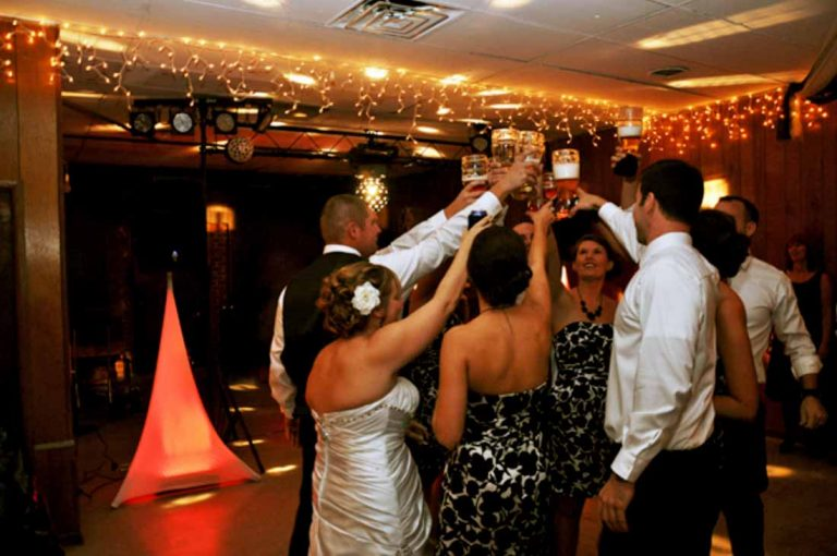Wedding toast on dance floor